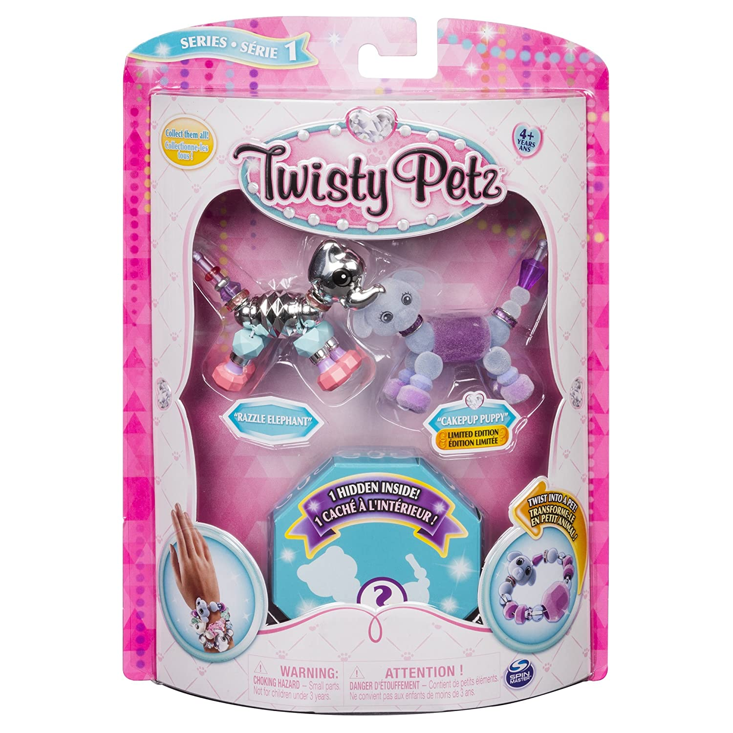 Twisty Petz – 3-Pack – Razzle Elephant, Cakepup Puppy and Surprise Collectible Bracelet Set for Kids Spin Master Ltd 20100953