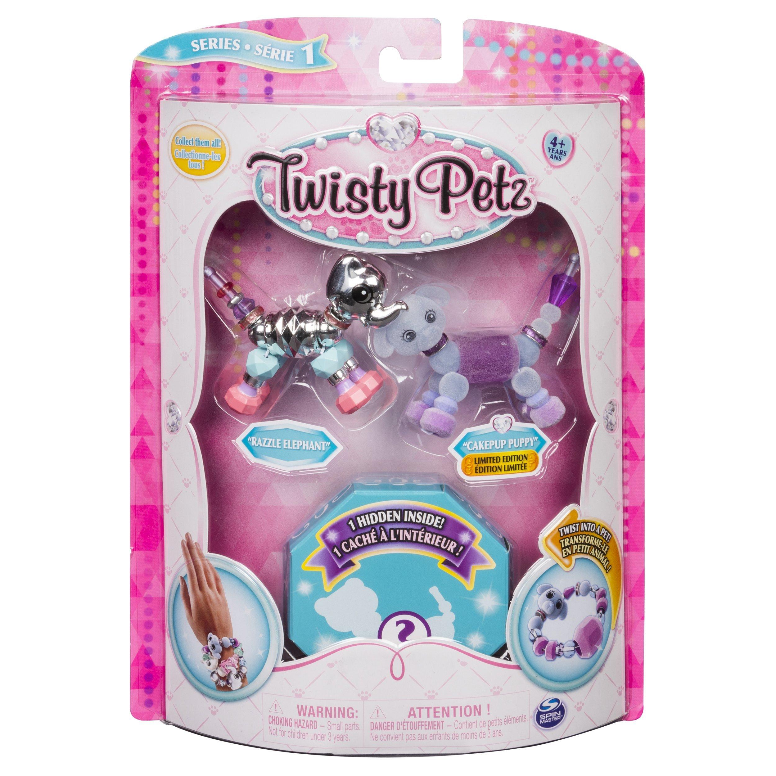 Twisty Petz - 3-Pack - Razzle Elephant, Cakepup Puppy Surprise Collectible Bracelet Set Kids