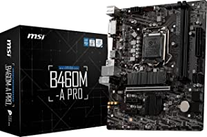 MSI B460M-A PRO ProSeries Motherboard (mATX, 10th Gen Intel Core, LGA 1200 Socket, DDR4, M.2 Slot, USB 3.2 Gen 1, 2.5G LAN, DVI/HDMI)