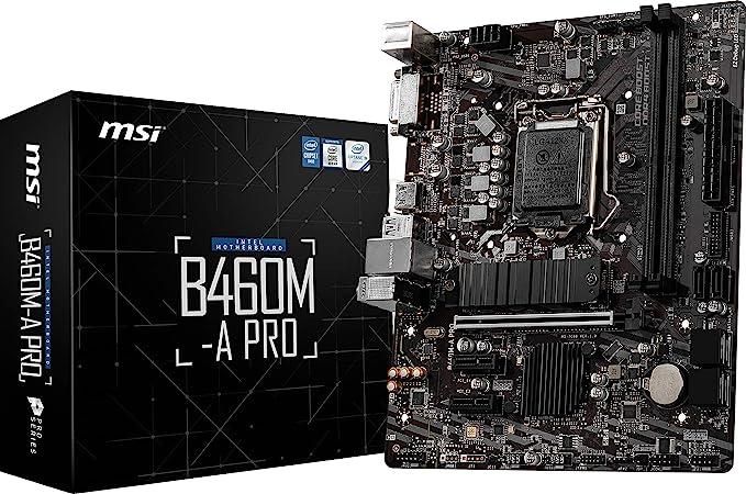 Amazon.com: MSI B460M-A PRO ProSeries Motherboard (mATX, 10th Gen Intel Core, LGA 1200 Socket, DDR4, M.2 Slot, USB 3.2 Gen 1, 2.5G LAN, DVI/HDMI): Electronics
