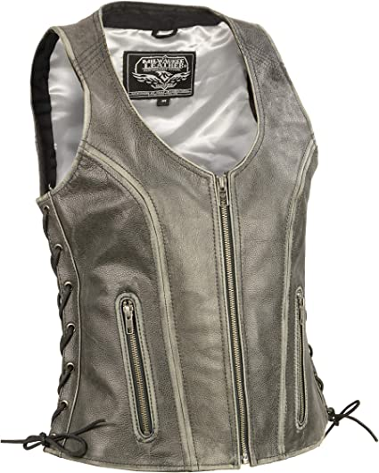 Milwaukee Leather Womens Zipper Front Braided Vest Black, X-Large