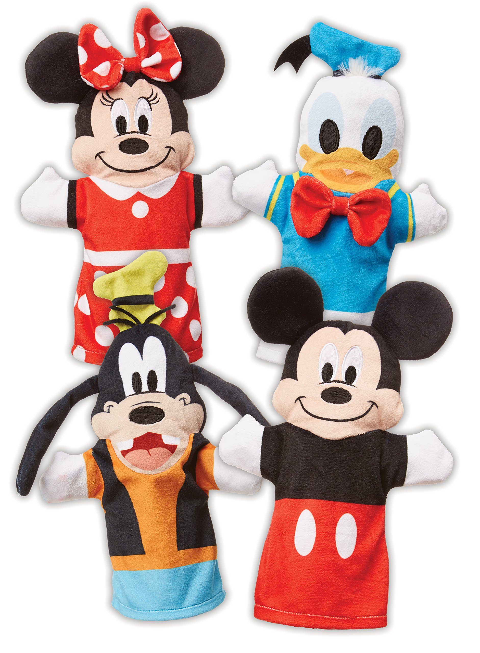 "Melissa & Doug Mickey Mouse & Friends Hand Puppets; Puppet Sets; Mickey, Minnie, Donald, and Goofy; Soft Plush Material; Set of 4; 9.5"" H x 14.2"" W x 2.1"" L by Melissa & Doug (Image #1)"