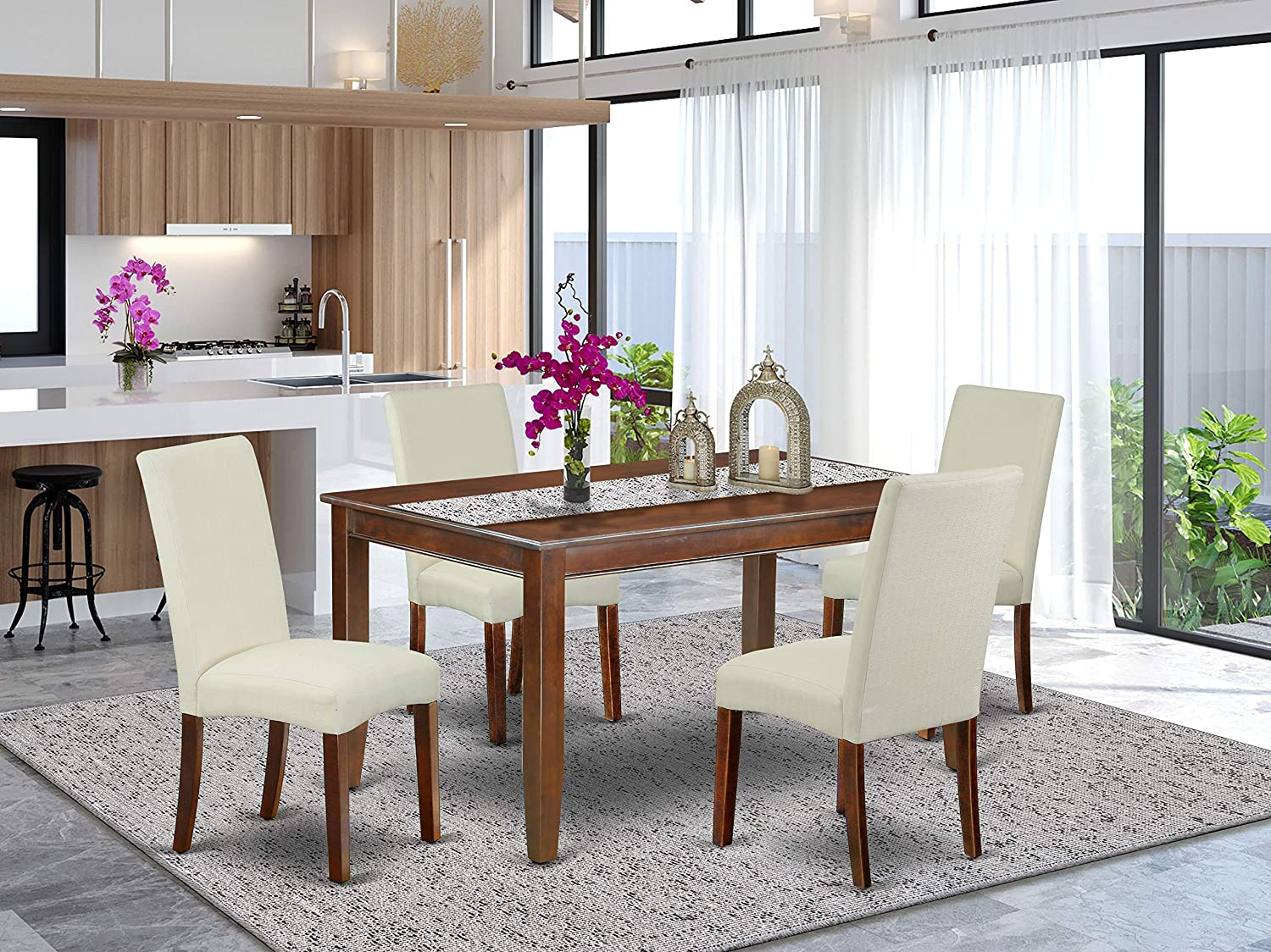 Amazon Com East West Furniture 5pc Rectangle 60 Inch Dining Table And Four Parson Chair With Mahogany Finish Leg And Linen Fabric Cream Color 5 Furniture Decor