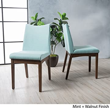 Gertrude Mint Fabric with Walnut Finish Mid Century Modern Dining Chairs Set of 2