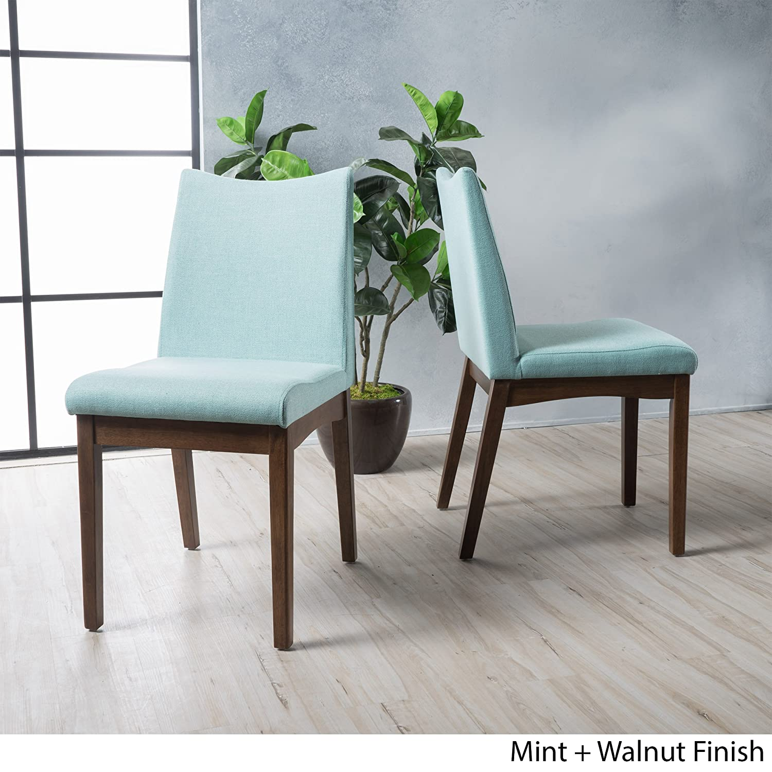 Christopher Knight Home Gertrude Mint Fabric with Walnut Finish Mid Century Modern Dining Chairs (Set of 2)