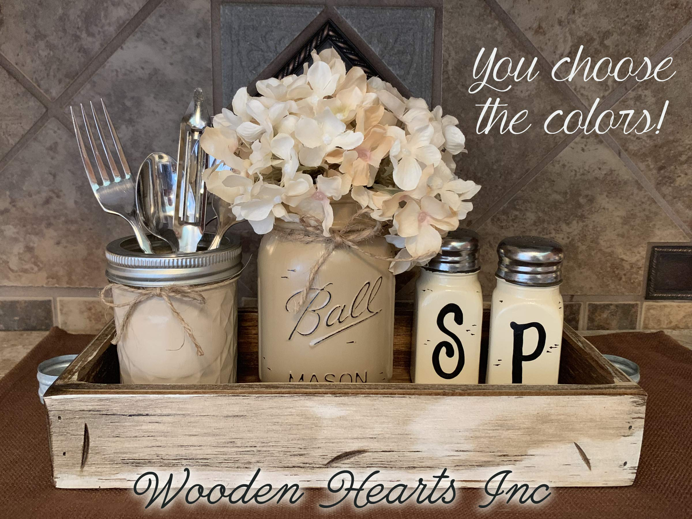 Ball Mason Jar KITCHEN Table Centerpiece SET in Antique Rustic Tray ~Salt and Pepper Shakers, Pint Vase Jar with FLOWER~Distressed Painted Jars, Accessory Holder, Green Brown Cream White Tan Blue by Wooden Hearts