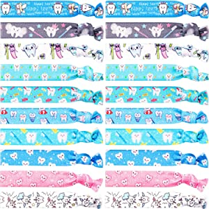 20 Pieces Teeth Hair Ties Dental Tooth Hair Accessories Elastic Ribbon Ponytail Holders No Crease Hair Bands Dental Hygienist Gift for Women Girls (Cute Teeth Pattern)
