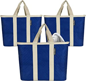CleverMade SnapBasket Insulated Reusable Grocery Shopping Bags with Reinforced Bottom and Zippered Lid, Collapsible Durable Food Delivery Totes, 20L Size, Navy/Cream, 3 Pack (7110-4029-01103PK)
