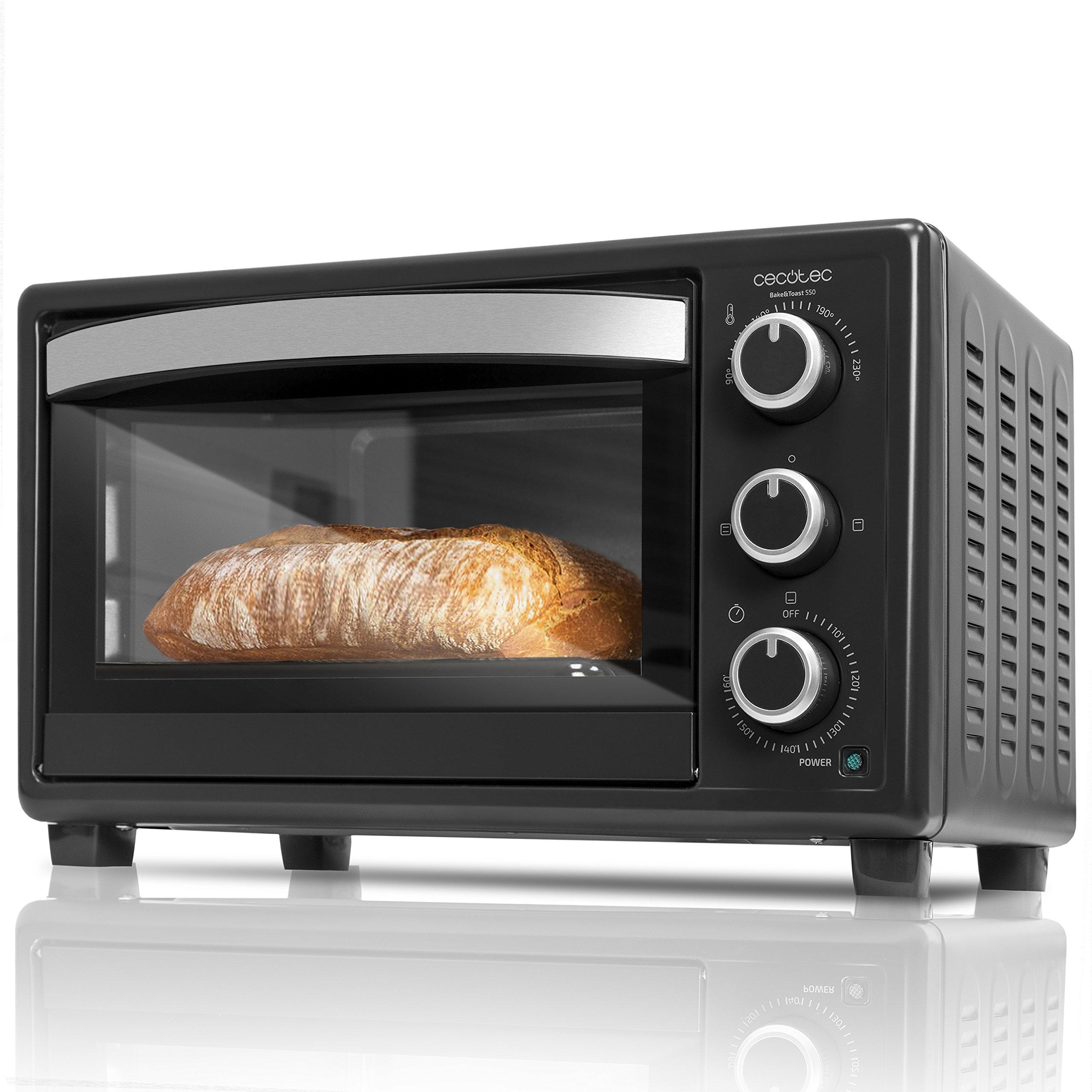 Cecotec Horno Conveccion Sobremesa Bake&Toast 550. Capacidad de 23 litros, 1500 W, 3 Modos, Temperatura hasta 230ºC y Tiempo hasta 60 Minutos, Incluye Bandeja Recogemigas product image