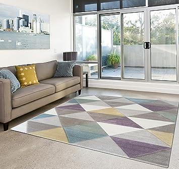 Attraktiv Moderner Teppich Wohnzimmer Kurzflor Geomet Pastell Farben   Schadstofffrei    Lila Beige   200x290 Cm