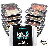 [10er Pack] 1-Fach Meal Prep Container | qualitativ hochwertig mikrowellengeeignet, spülmaschinenfest mit luftdichtem Deckels | zertifiziert BPA-Frei Bento Box | wiederverwendbar Frischhaltedosen