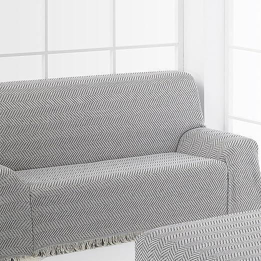 Frenessa Colcha Multiusos Foulard para Cama o Sofá, 180x260cm Color Negro (Varios tamaños y Colores Disponibles)
