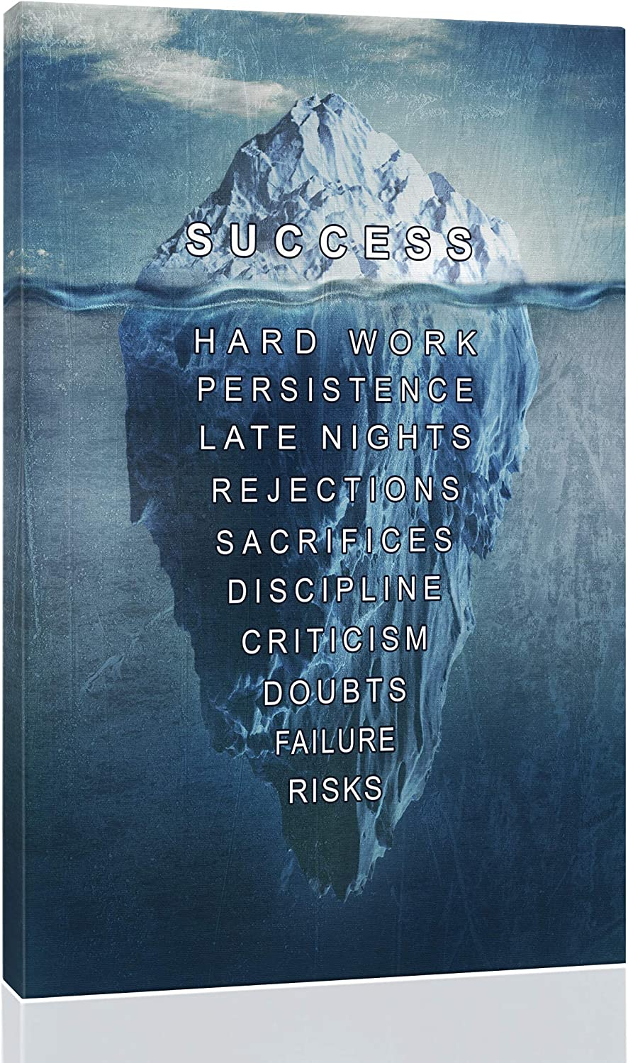 "Eqoya Inspirational Wall Art Posters for Home Office, College Dorm, Motivational Quote Decor Canvas, Encouraging Positive Growth Mindset Quotes for Classroom (12""W x 18""H Success - Iceberg)"