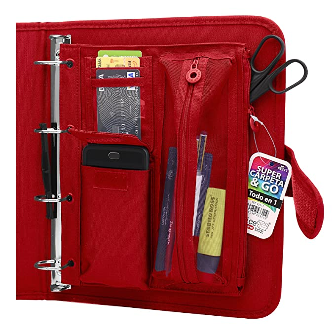 Colorline 43311 - Pack Carpeta de 4 Anillas y Porta Todo Integrado, Super Carpeta & Go, Todo en Uno para Material Escolar. Color Rojo, Medidas 34 x 29 x 6 ...