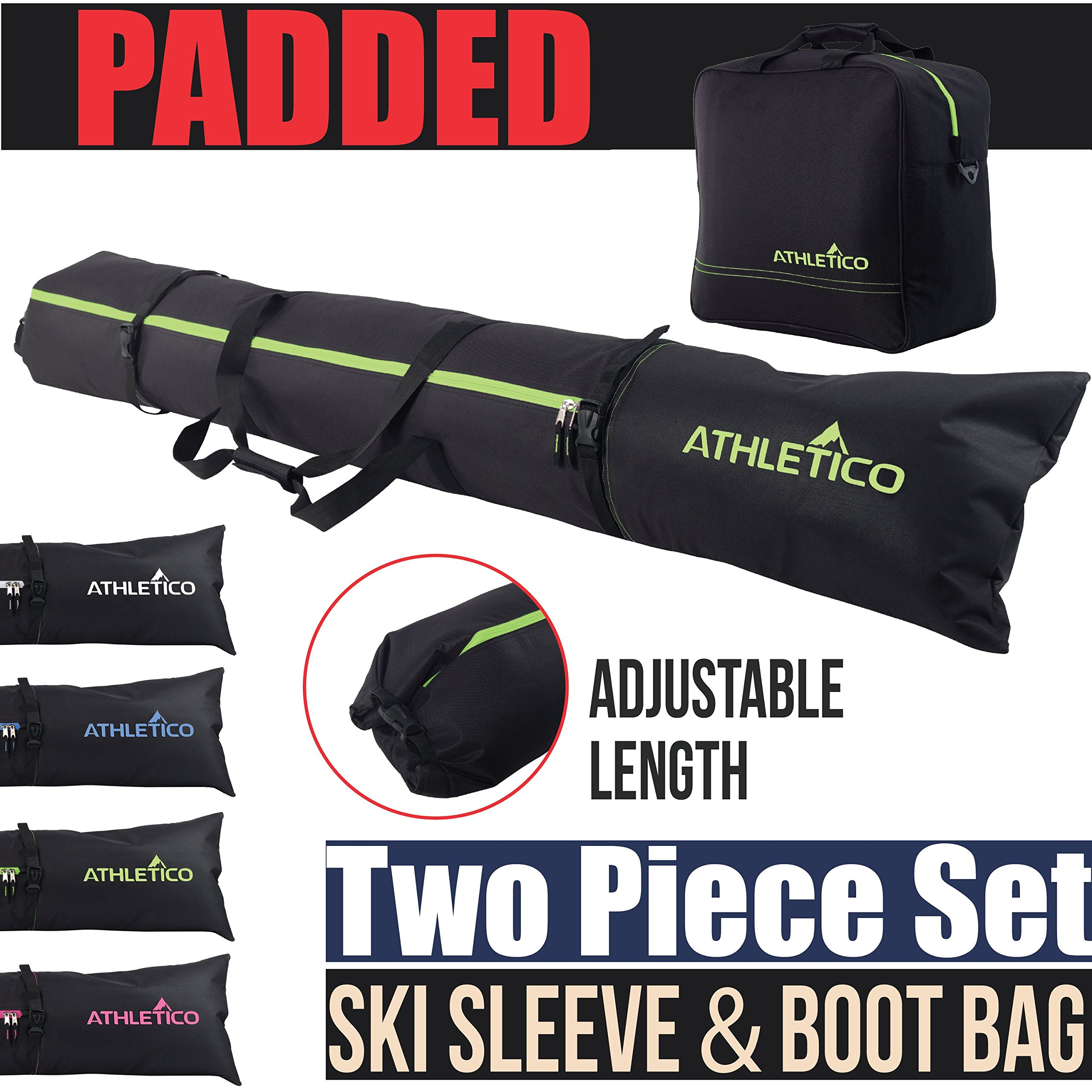 Athletico Padded Two-Piece Ski and Boot Bag Combo | Store & Transport Skis Up to 200 cm and Boots Up to Size 13 | Includes 1 Padded Ski Bag & 1 Padded Ski Boot Bag (Black with Green Trim (Padded)) by Athletico