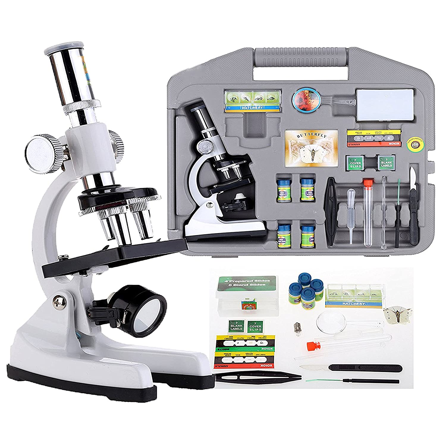 30 Piece 100-1200x Discovery Biological Microscope Advanced Science Set Kit Case The Magic Toy Shop SH1200