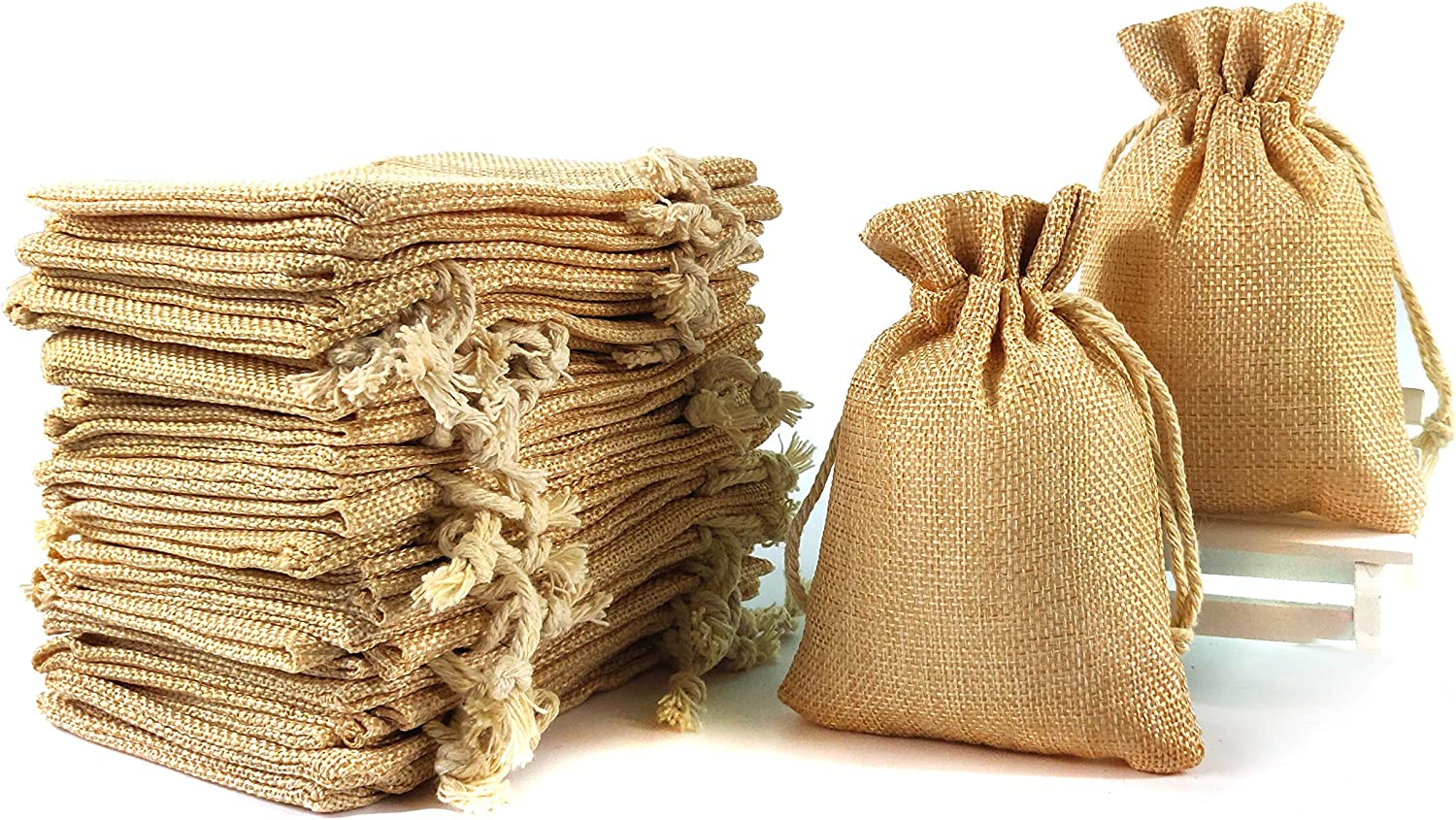 YUXIER Drawstring Bag Burlap Bags Party Favor Bags for Jewelry Wedding Baby Shower Arts Crafts Projects Presents Snacks DIY Decorations 5.3x3.7inch (Brown) -Pack of 30 Drawstring Gift Bags Bulk