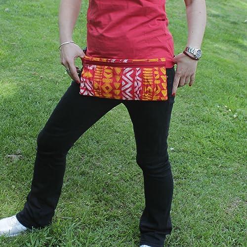 Riñonera Polinesia - Amarillo, Rojo y Blanco - Bolso cinturón hecho a mano en lona