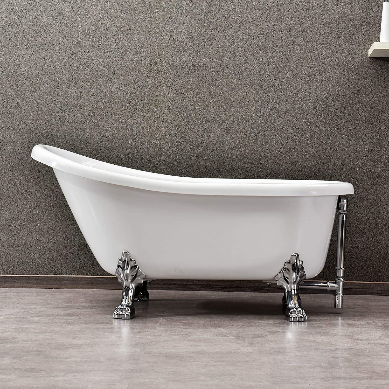 WOODBRIDGE 59 x 30 Slipper Clawfoot Bathtub with Solid Brass Polished Chrome Finish Drain and Overflow, B-0022 BTA1522,White