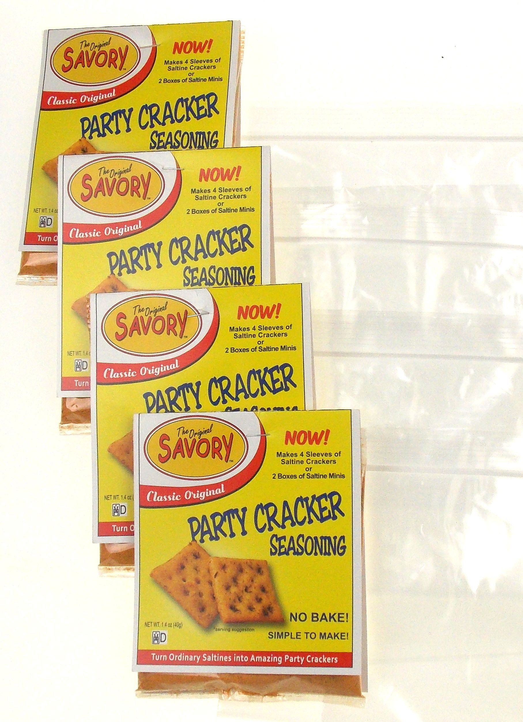 Savory Saltine Seasoning Bundle - 4 Packs Classic Original Flavor + 4 Zip Top Bags
