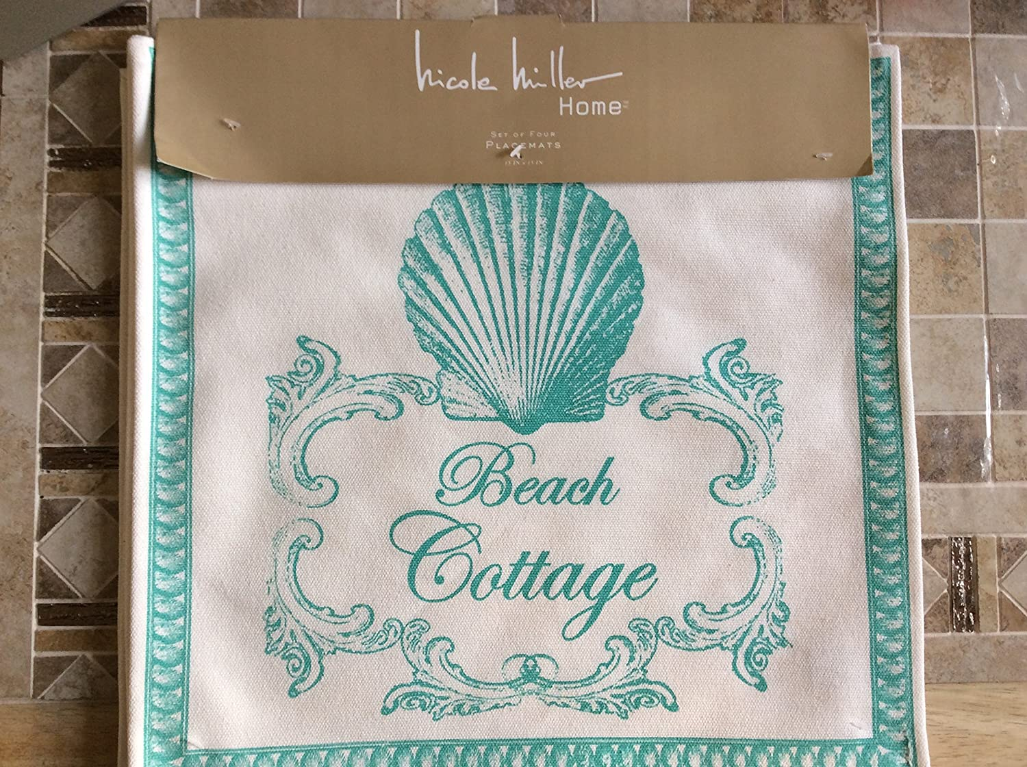 Nicole Miller Turquoise Beach Cottage Set of (4) Placemats