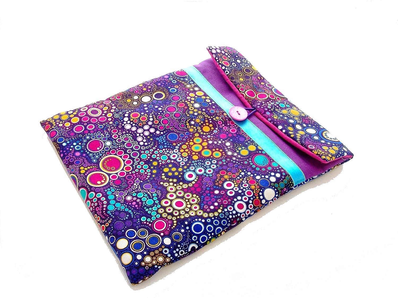 pochette pour ipad violette a bulles multicolores , housse tablette 10 pouces en tissu graphique effervescence , etui matelassé pour ipad femme , cadeau pour elle