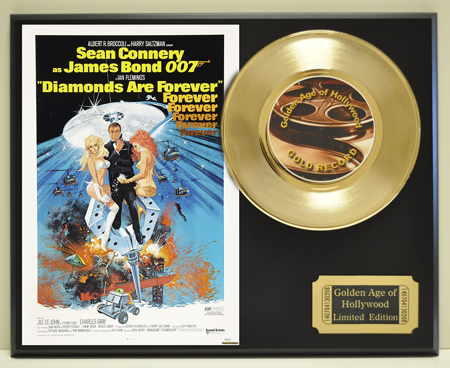 Sean Connery as James Bond in 'Diamonds are Forever', Limited Edition Gold 45 Record Display. Only 500 made. Limited quanities. FREE US SHIPPING by Classic Rock Collectibles