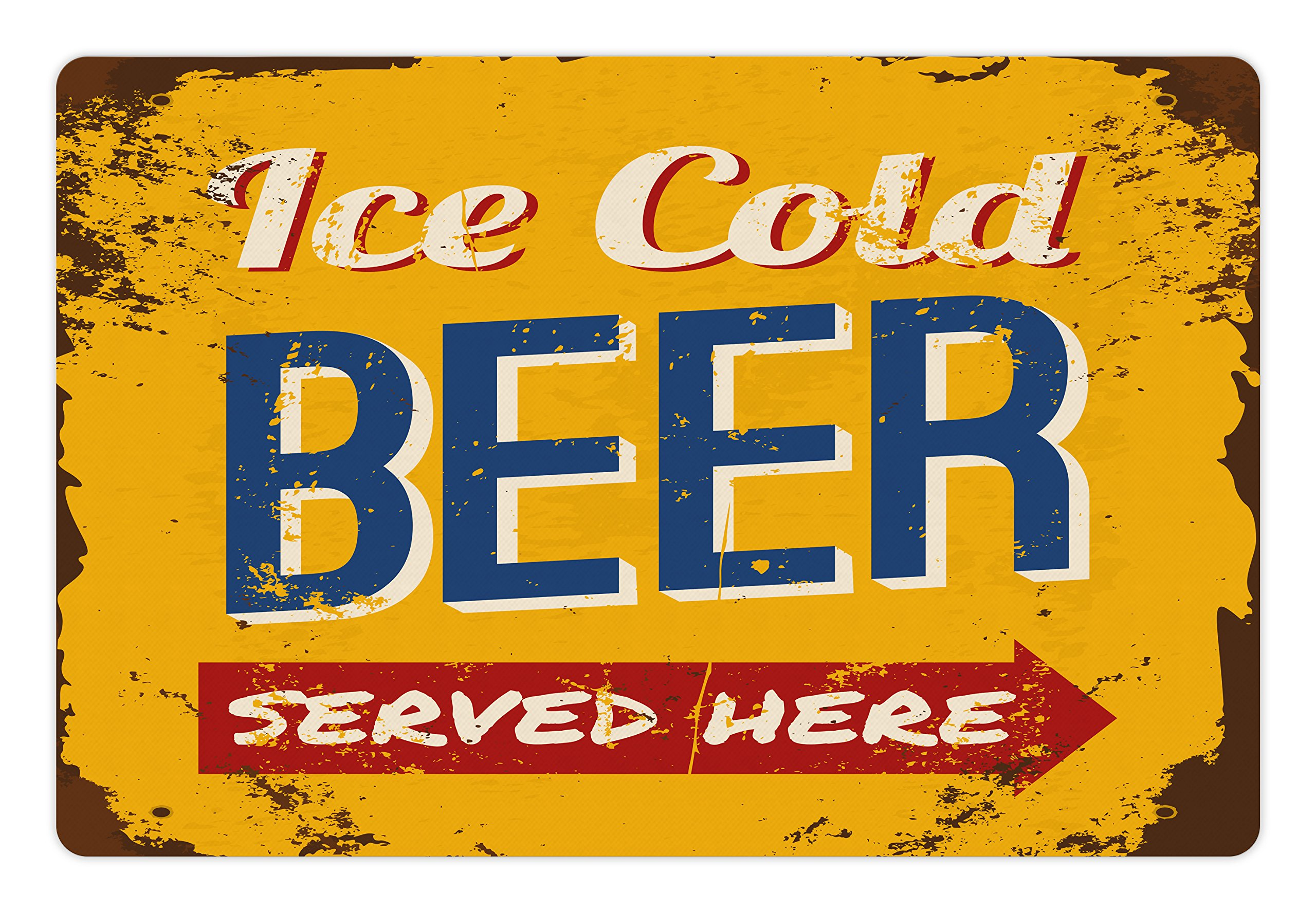 Lunarable Man Cave Pet Mats for Food and Water by, Vintage Worn Out Rusty Sign Design with Ice Cold Beer Served Here Beverage Print, Rectangle Non-Slip Rubber Mat for Dogs and Cats, Multicolor