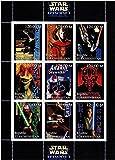 Star Wars sellos - Star Wars Episodio 1 La Phanton Menace - 9 sellos. Menta y sheetlet sello sin montar