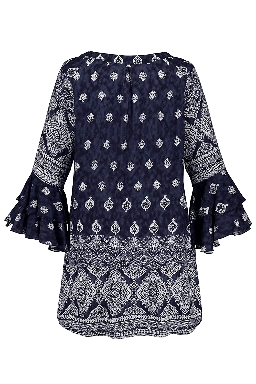 Ulla Popken Womens Plus Size Medallion Border Print Tunic Blouse 720749