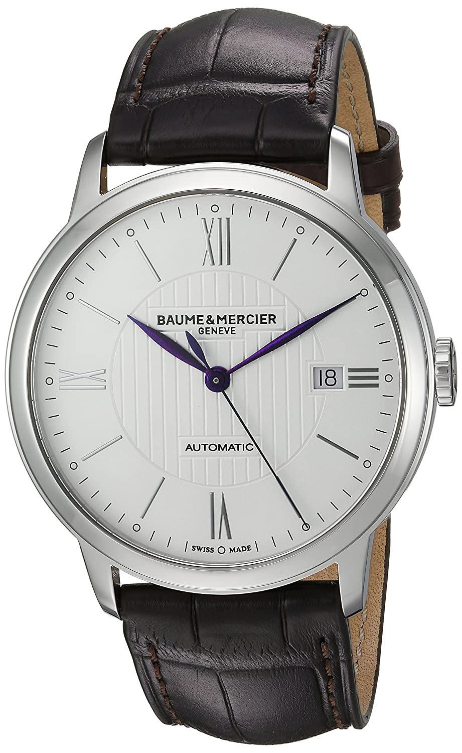 Baume Mercier Men s Stainless Steel Swiss Automatic Watch with Leather Strap, Brown, 21 Model MOA10214