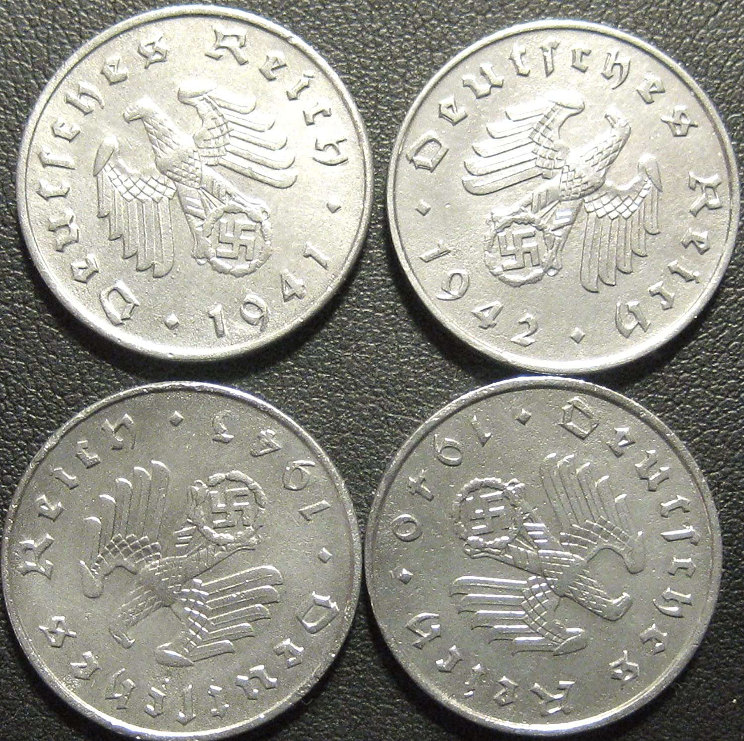 Germany, Four World War II German 10 Reichspfennig Coin Collection - Dated 1940, 1941, 1942 &1943