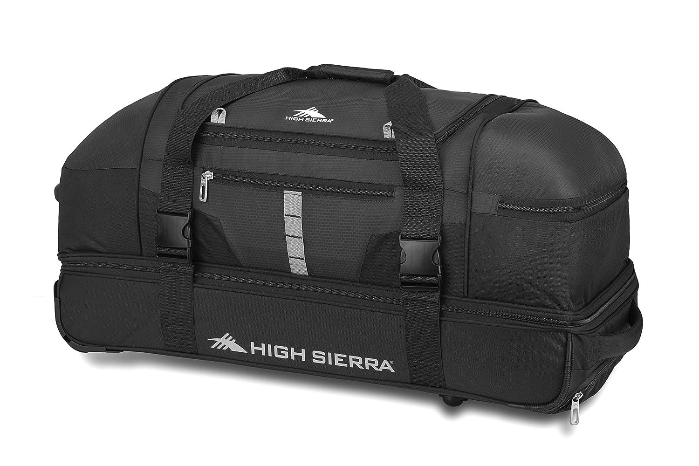 "High Sierra Evolution Wheeled Drop Bottom Duffel Bag, Black/Zest, 30"" Black/Ash One Size High Sierra Sport Company 89573"