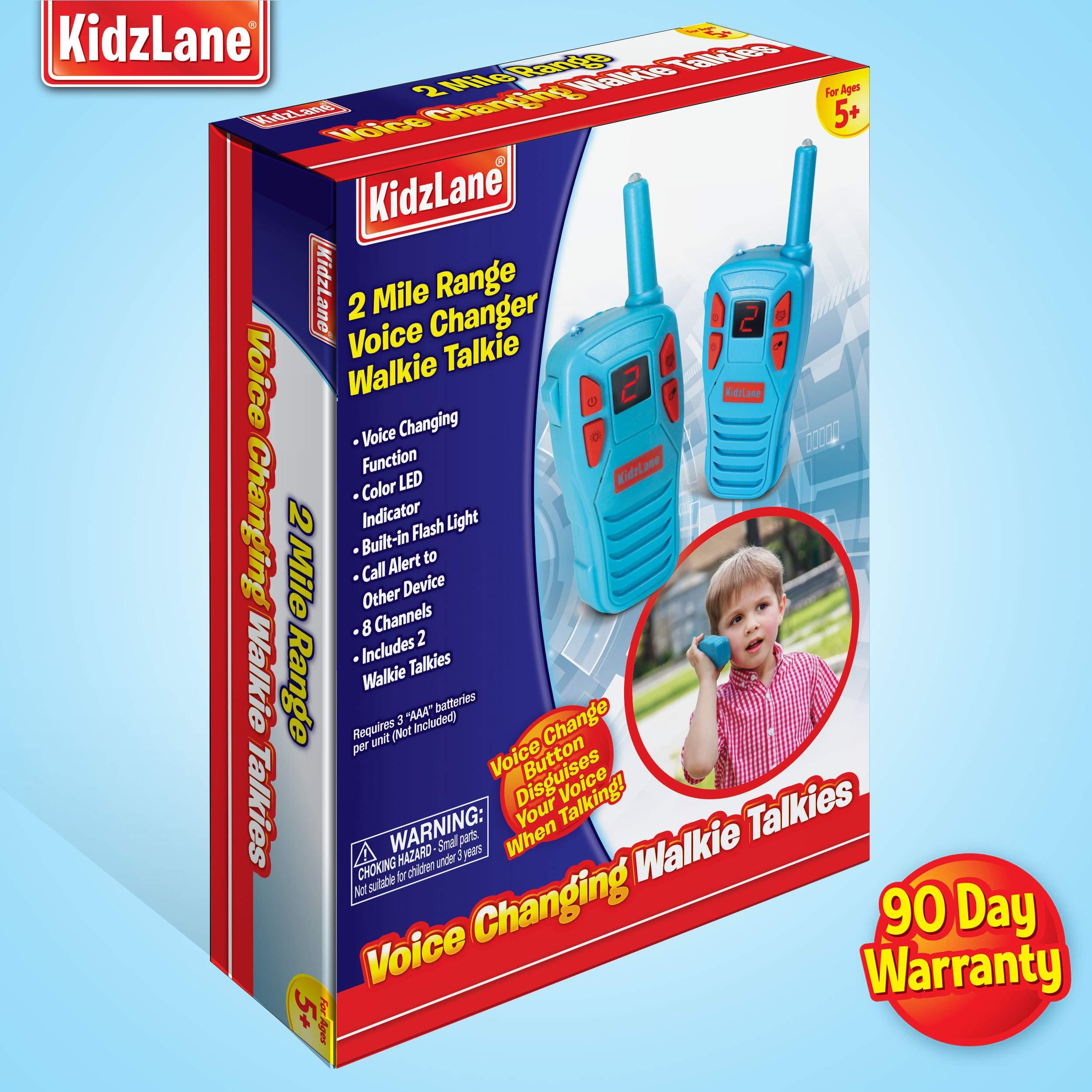 Kidzlane Voice Changing Walkie Talkies for Kids - 2 Mile Range, 8 Channels, Flashlight, & Call Alert by Kidzlane (Image #5)