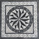 marmor rosone 120x120 cm kompass windrose naturstein mosaik einleger fliesen grau 028. Black Bedroom Furniture Sets. Home Design Ideas