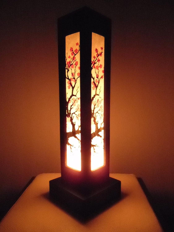 Thai Wood Lamp Handmade Oriental Japanese Red Sakura Cherry Blossom Tree Branch Bedside Table Lights or Floor Home Decor Bedroom Decoration Modern Design