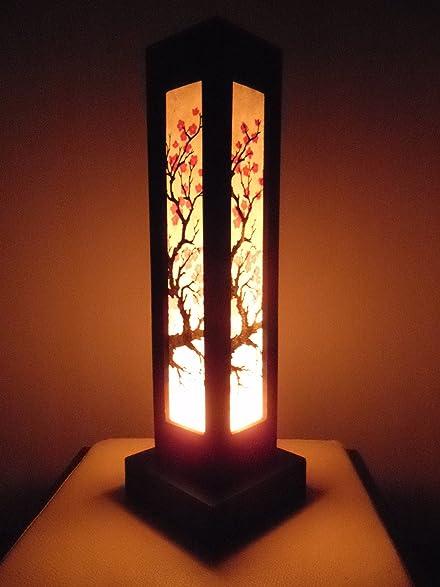 Thai Wood Lamp Handmade Oriental Japanese Red Sakura Cherry ...