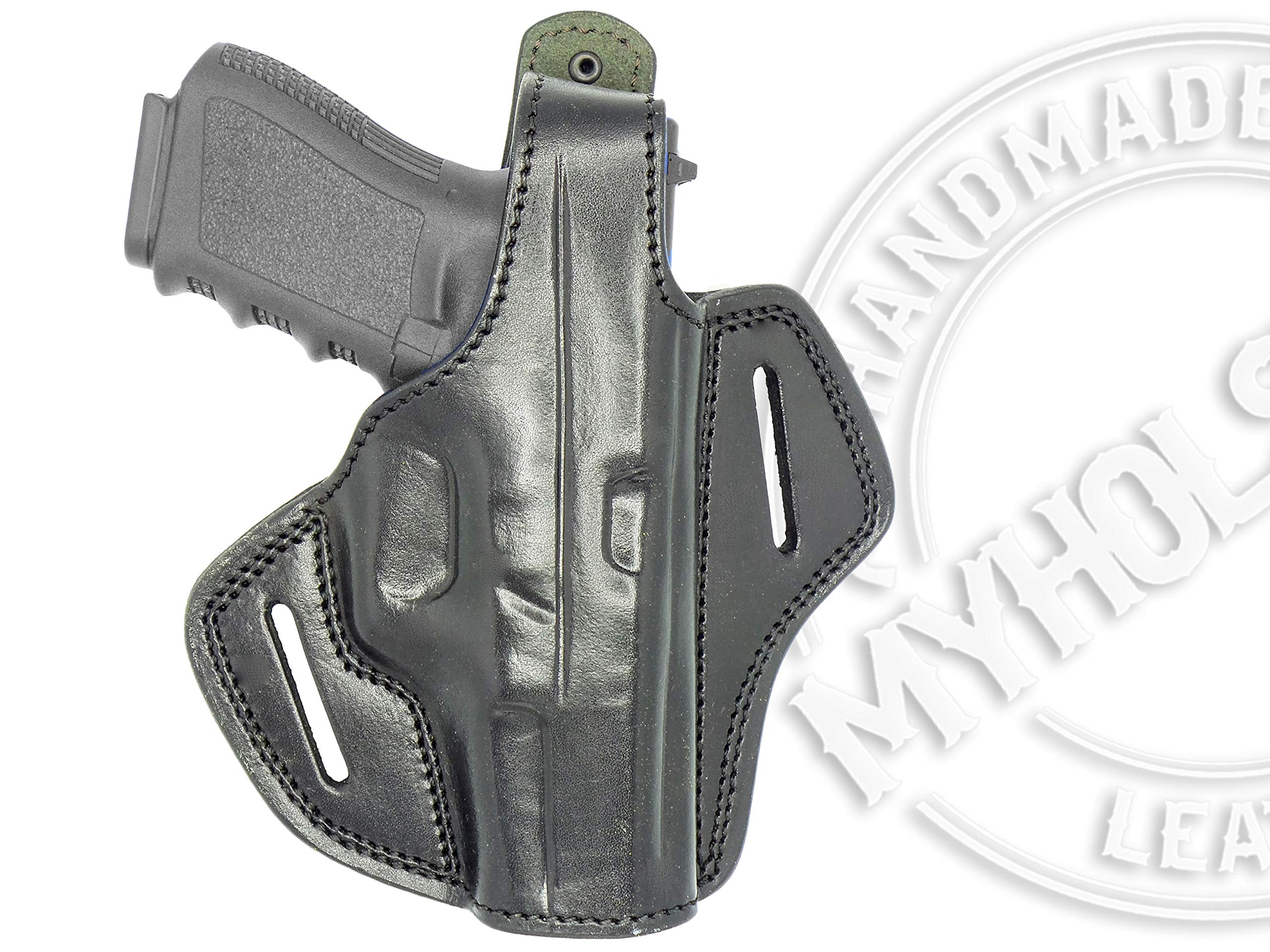 MyHolster Right Hand OWB Leather Gun Holster for Belts fits Smith & Wesson Model 5906 & Similar Frames (Black) by My Holster