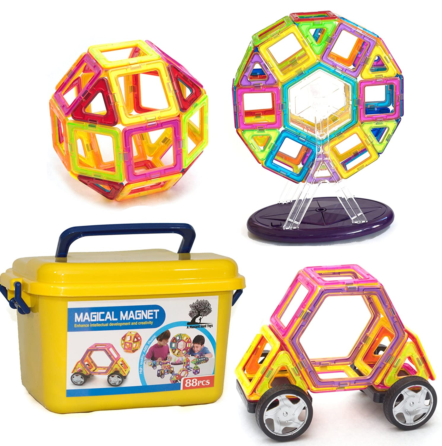 A Mustard Seed Toys Magnetic Tiles - 88 Large Pieces, Full Size, Kids Learn Colors, Shapes, and Patterns, Great Starter Set, Includes Wheels for Building Cars and a Ferris Wheel With Lights and Music Review