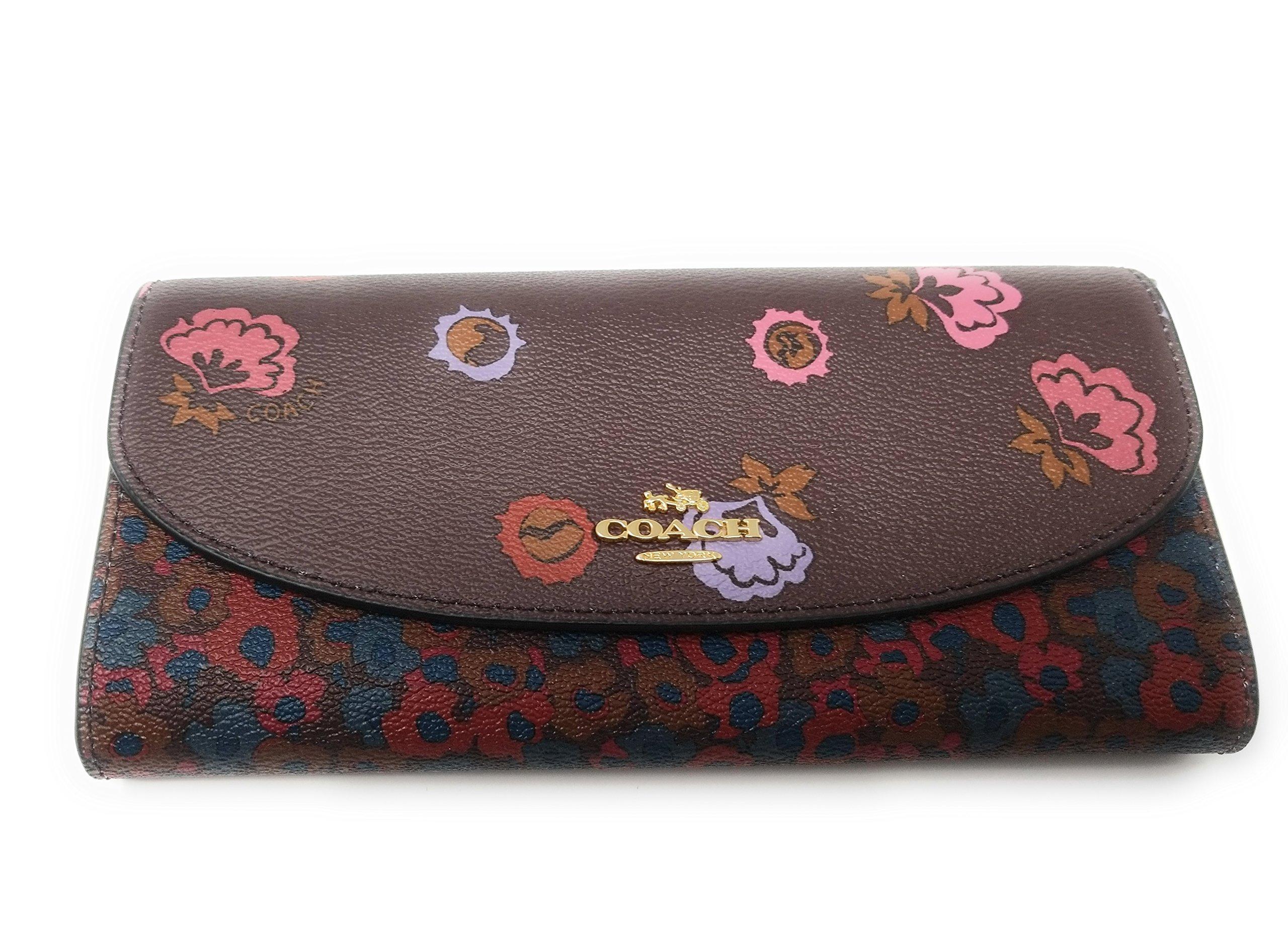 COACH Crossgrain Leather Floral Printed Slim Envelope Wallet (Ox Blood Multi)