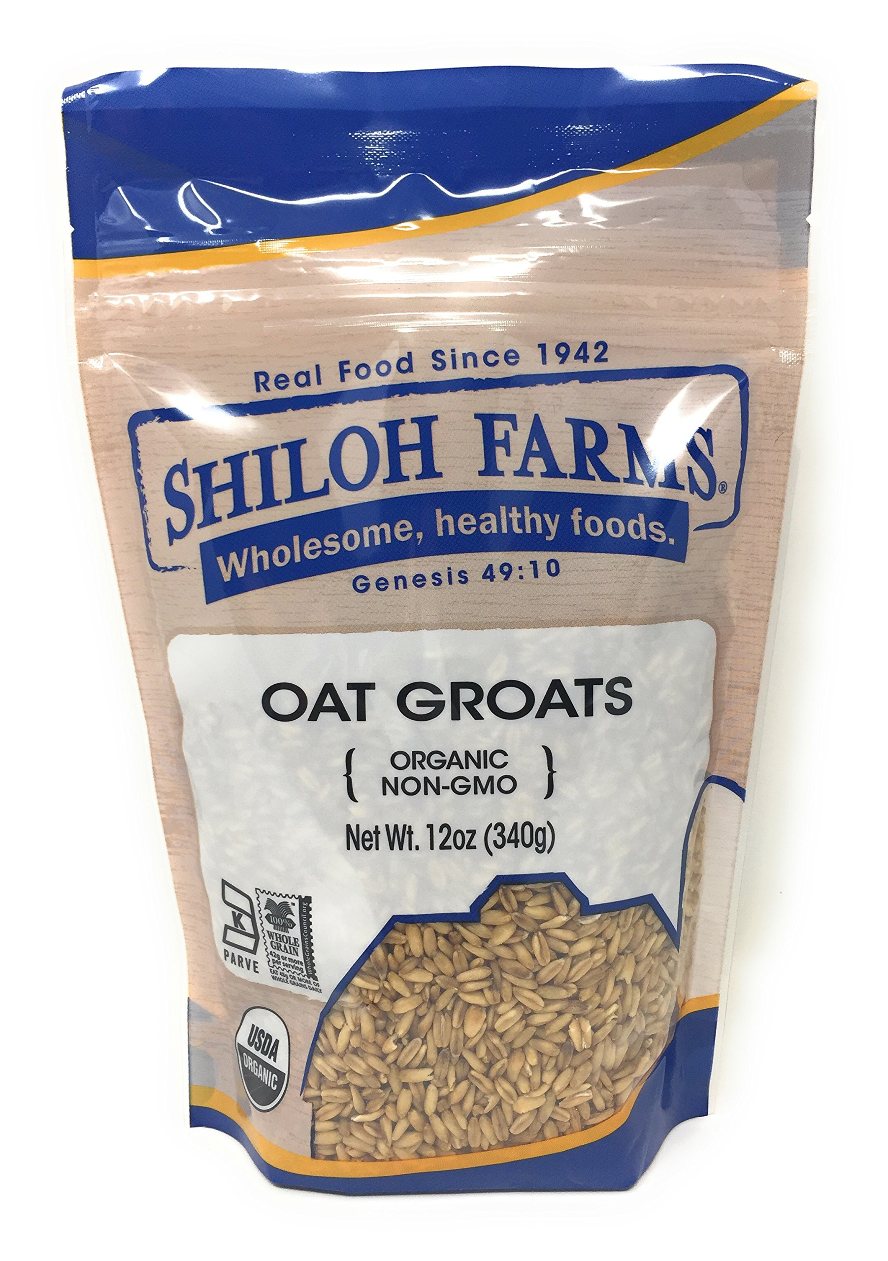 Shiloh Farms - Whole Grain Organic Oat Groats, a Delicious Source of Fiber, 12 Ounce Bags (Set of 2)