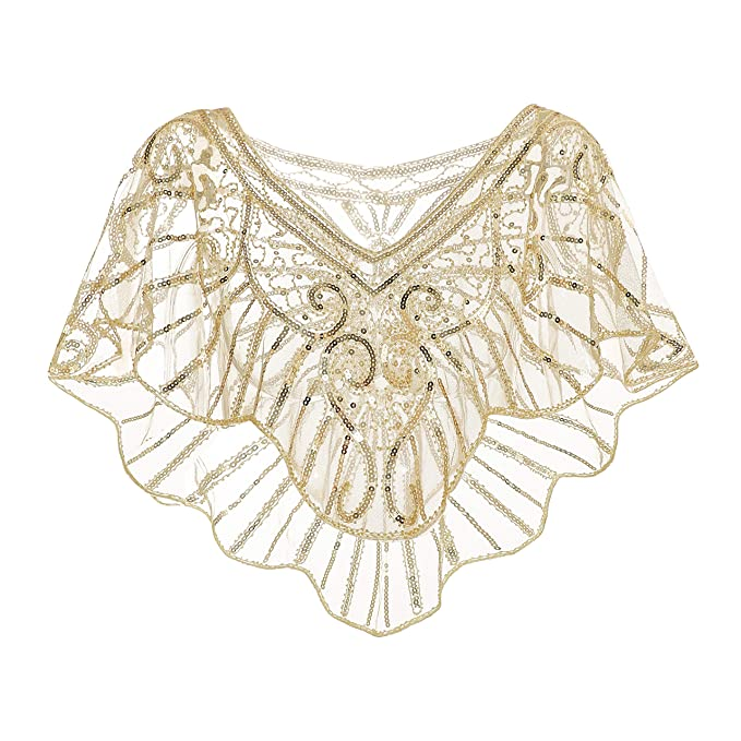 1920s Accessories | Great Gatsby Accessories Guide Metme Womens 1920s Wedding Wrap Bridal Shawl Gatsby Evening Bolero Flapper Cape $21.99 AT vintagedancer.com