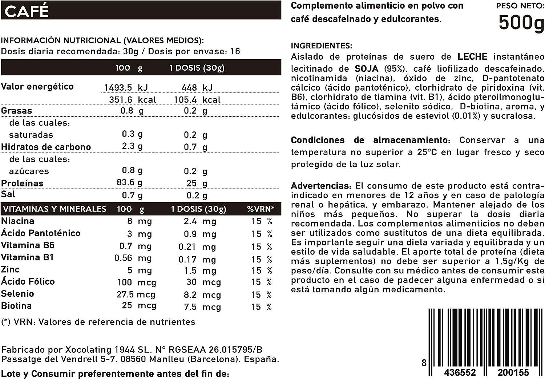 BODY GENIUS Lean Protein (Café). 500g. Whey Isolate. Proteína en Polvo con Stevia. Vitaminas y Minerales. Hecho en España.