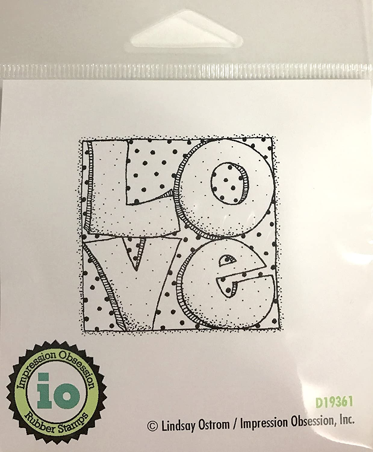 Impression Obsession IO Love Squared Cling Mounted Rubber Stamp D19361