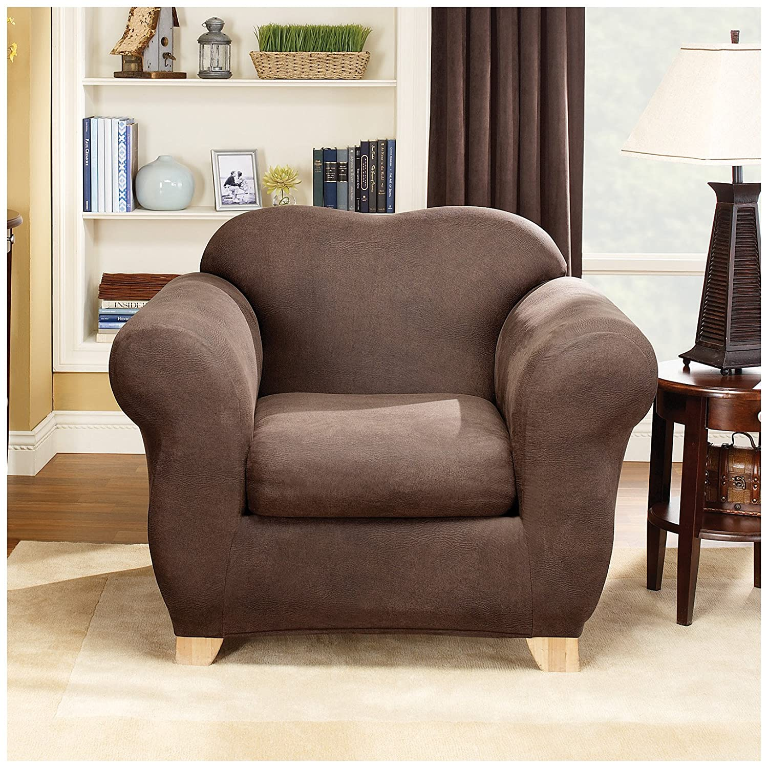 Amazon.com: Sure Fit Stretch Leather 2 Piece   Sofa Slipcover   Brown  (SF37336): Home U0026 Kitchen