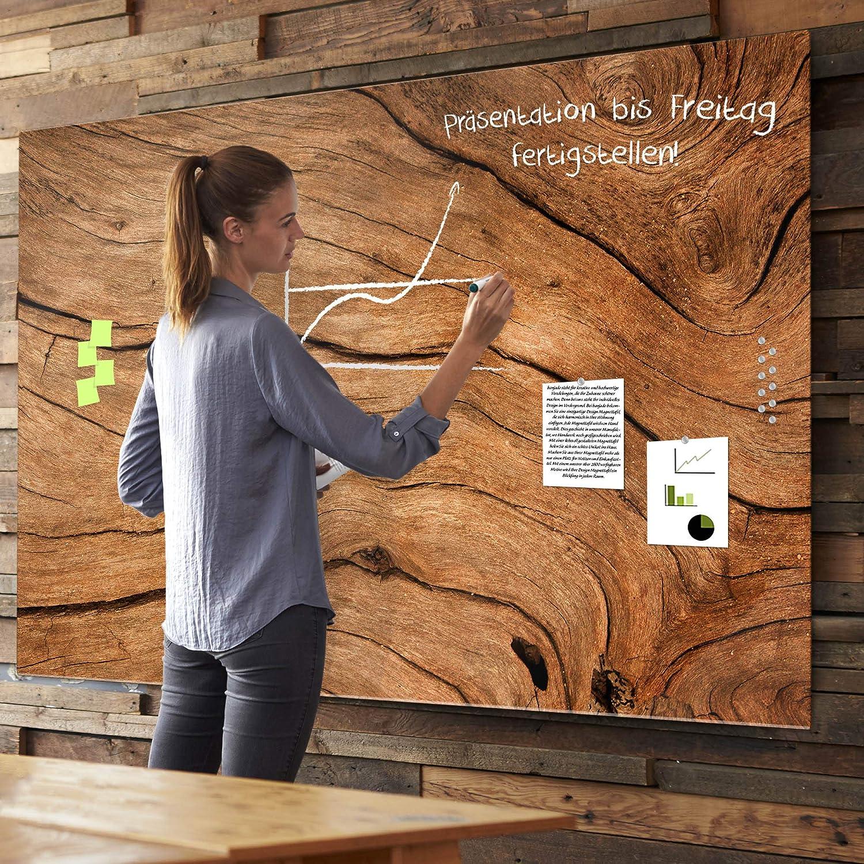 Glas Magnettafel beschreibbar Trockenes Holz Memoboard magnetisch aus Sicherheitsglas banjado Whiteboard aus Echtglas XXL Magnetwand 100 x 70cm gro/ß mit Markern und Neodym Magneten