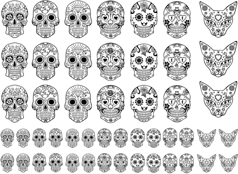 Sugar Skulls 5/8 to 1-1/8 Black 14JR330 Fused Glass Decals Captive Decals
