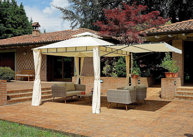 Greenwood Cenador de jardín 3 x 3 Metros con tendalino Lateral Extensible hasta a 5 X 3 Metros: Amazon.es: Jardín