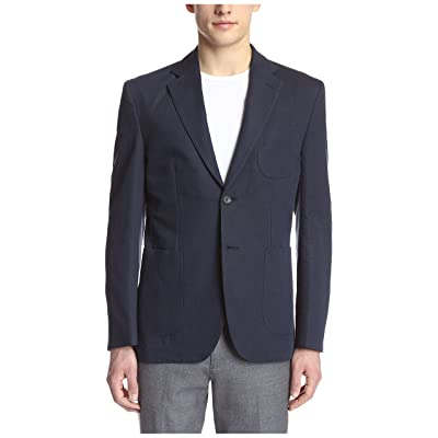 Hardy Amies Men's 2 Button Patch Pocket Waffle Sportcoat, Navy, 46R US at Amazon Men's Clothing store: Cell Phone Styli