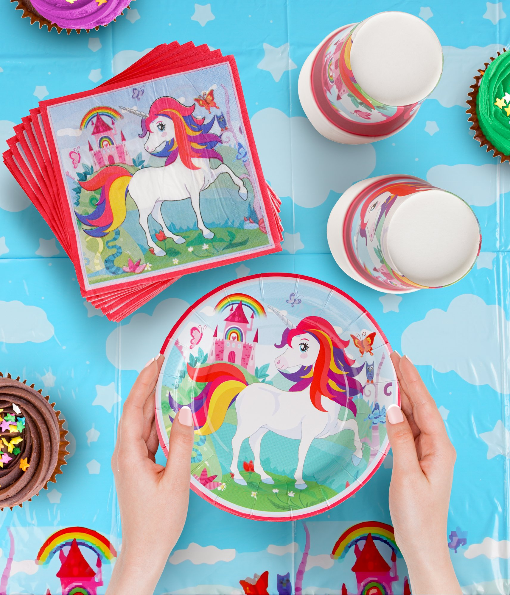 82 Piece Unicorn Party Supplies Set Including Banner, Plates, Cups, Napkins and Tablecloth, Serves 20 by Scale Rank (Image #2)